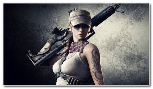 Tattoos Sunglasses Rifle Hat C G Weapons Weapon Sexy Babe Girl Wallpaper