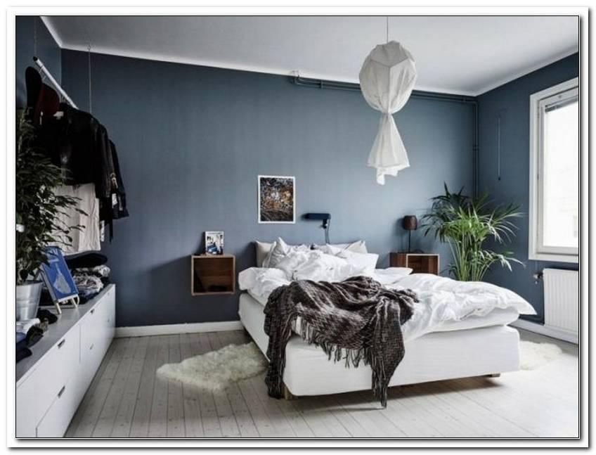 Taubenblau Wandfarbe Schlafzimmer