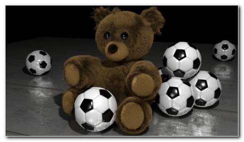 Teddy With Footballs HD Wallpaper