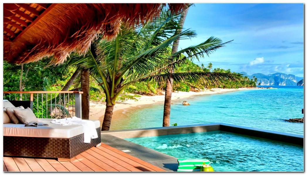 Tropical Resort Wide Desktop Background Wallpaper