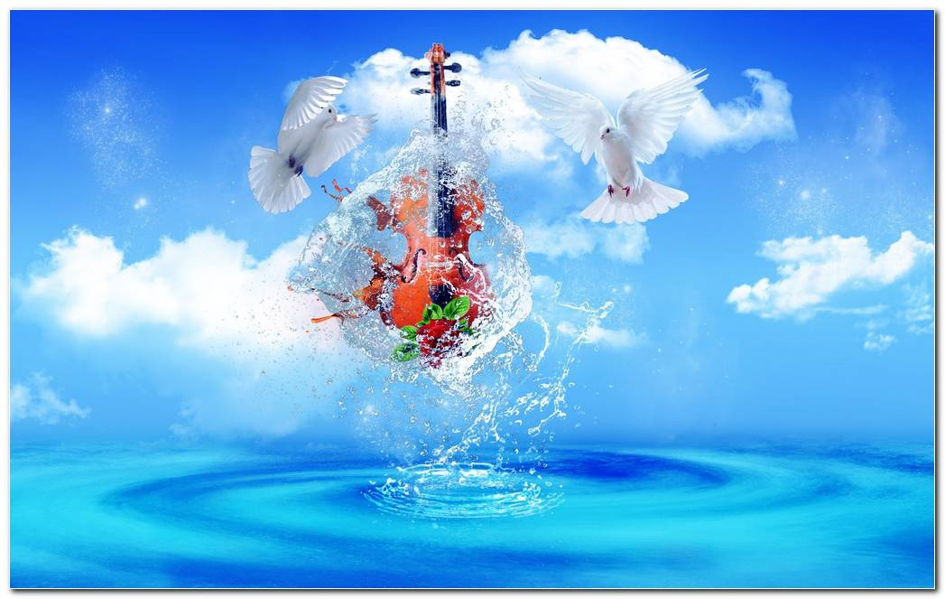Violin In Water Hd Wallpaper