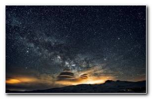 Wallpaper Nature Mountain Galaxy Night 3840?2160