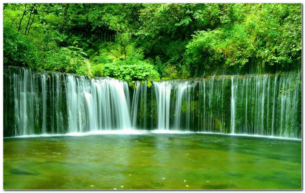 Waterfall Green Forest Nature Wallpaper Background