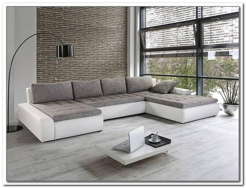 Wei? Graues Sofa