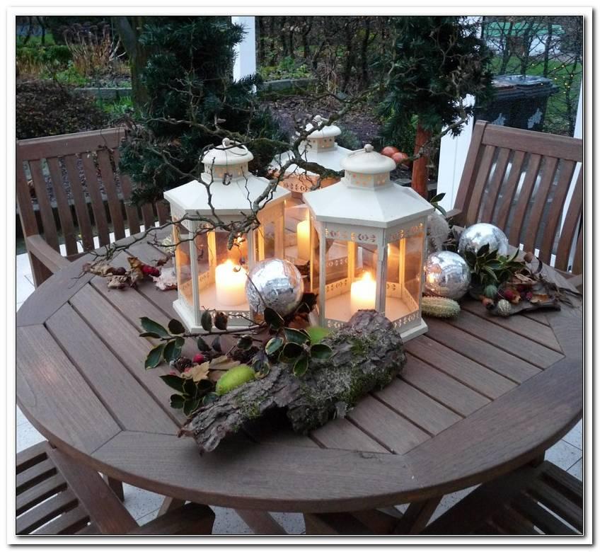 Weihnachtsdeko Gartentisch