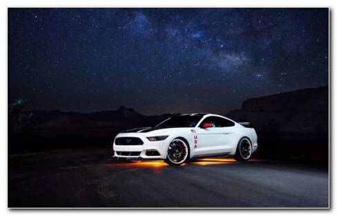 White Mustang Ford Night HD Wallpaper