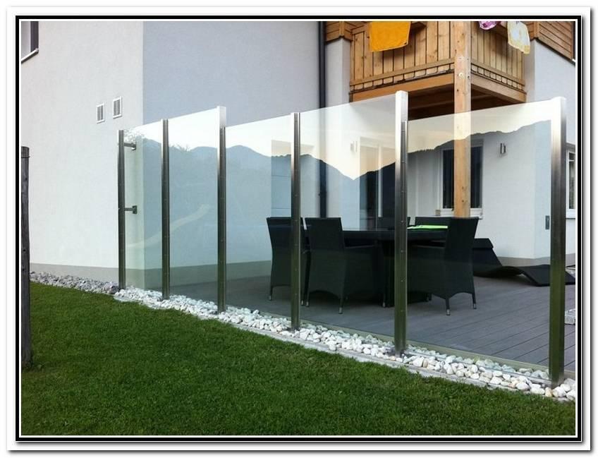 Windschutz F?R Terrasse Glas Metall