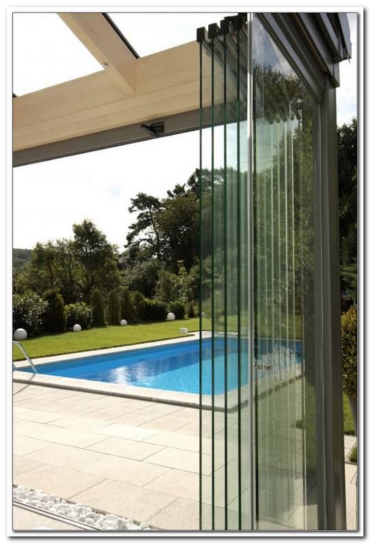 Windschutz Terrasse Glas Verschiebbar