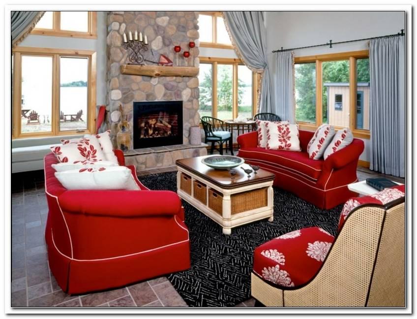 Wohnzimmer Einrichten Mit Rotem Sofa
