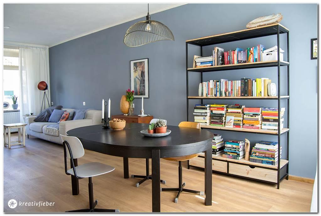 Wohnzimmer Wand Taubenblau
