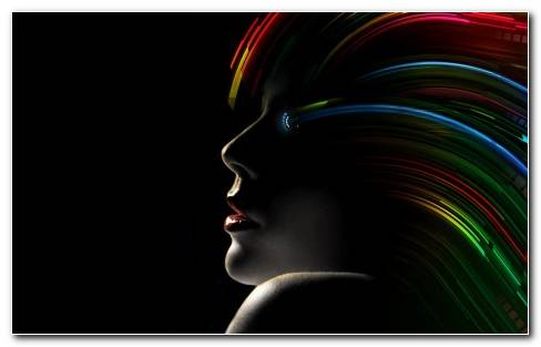 Amazing Hollywood Girl With Rainbow Hair With Black Background HD Wallpapers