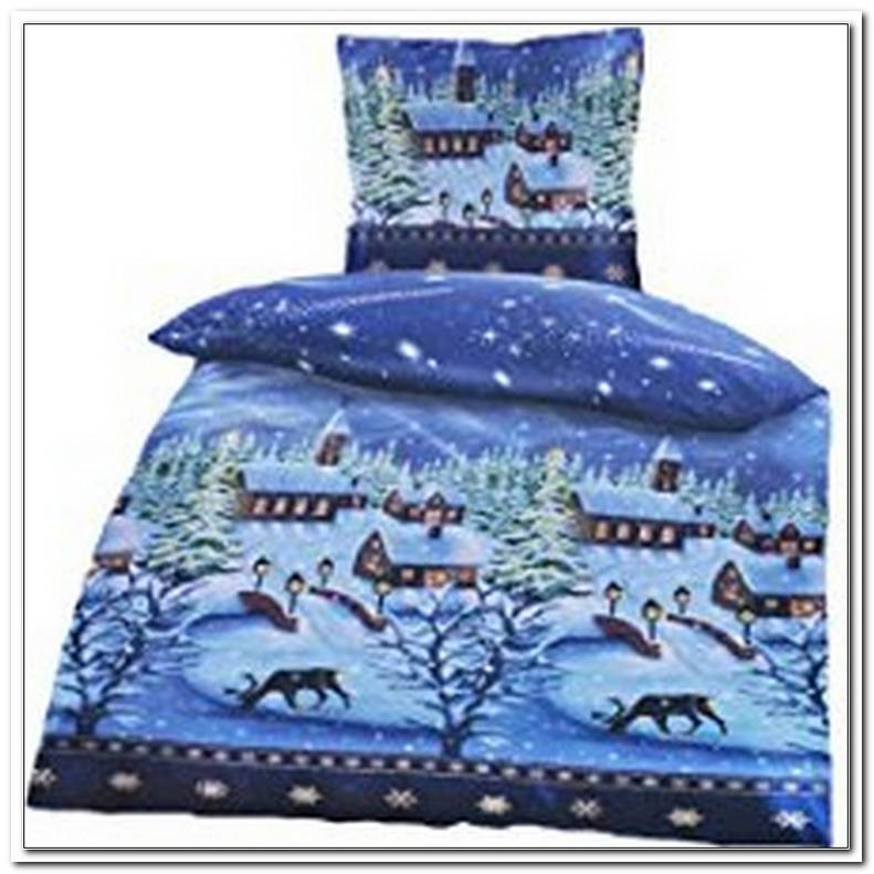 Bettw?sche Weihnachten Winterlandschaft Mikrofaser Thermofleece 135x200