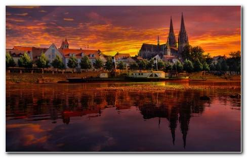 Germany Sunset Cityscape Sunset Reflection River Wallpaper