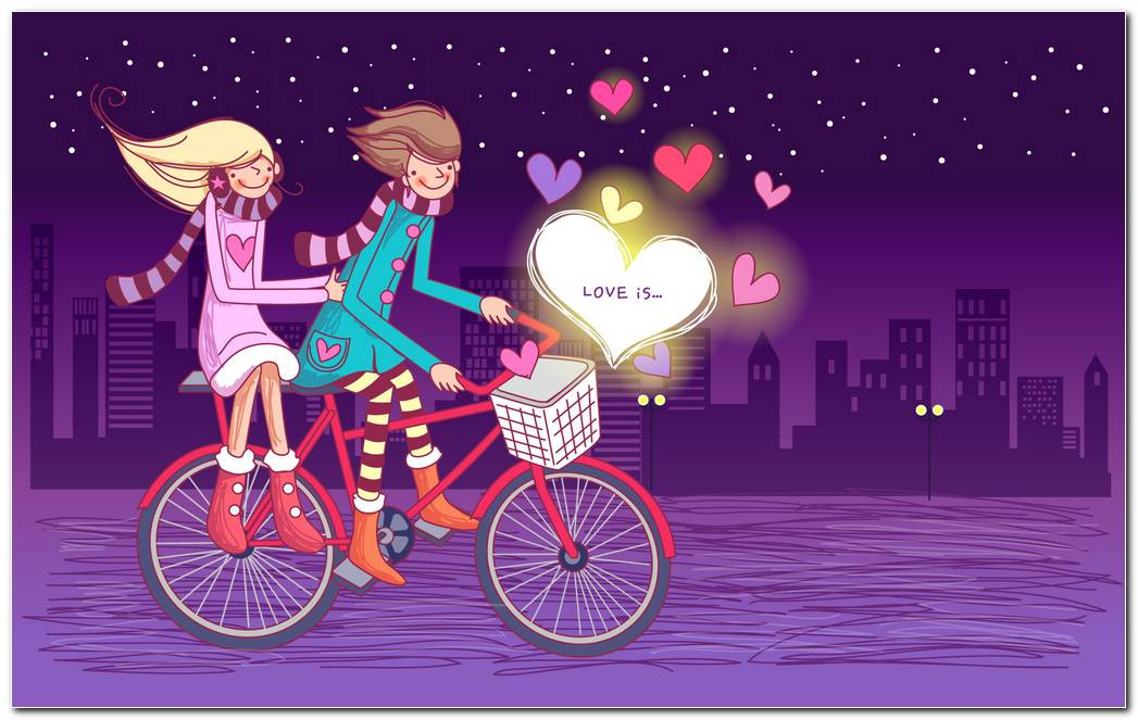 Love Couple On Bicycle Hd Wallpaper