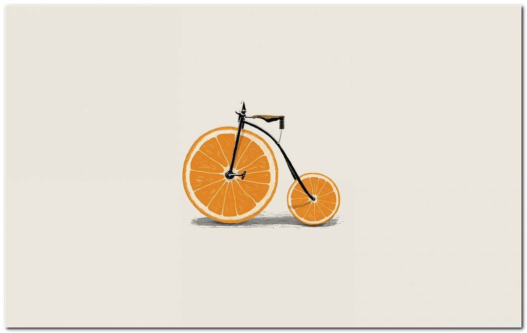 Oranges Wheeled Bicycle Funny Hd Wallpaper