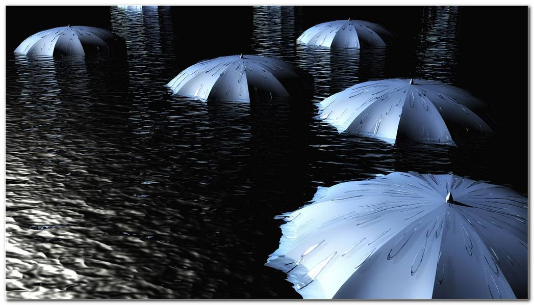 Umbrellas In Water Hd Wallpaper