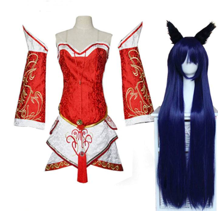 Cosplay Ahri LOL League of Legends Nove Caldas com Peruca
