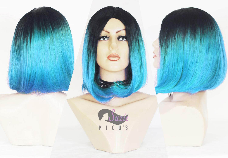 Peruca Wig Chanel Azul 35cm Raiz Preta - Fibra Futura
