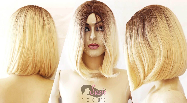 Peruca Wig Chanel Loiro Com Raiz Castanho Claro 35cm Fibra