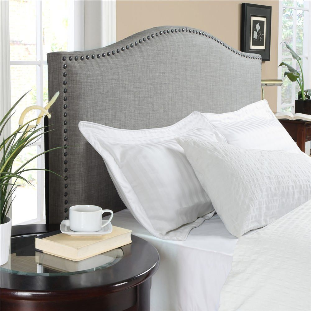 Grey Studded Bed Framegrey upholstered headboard