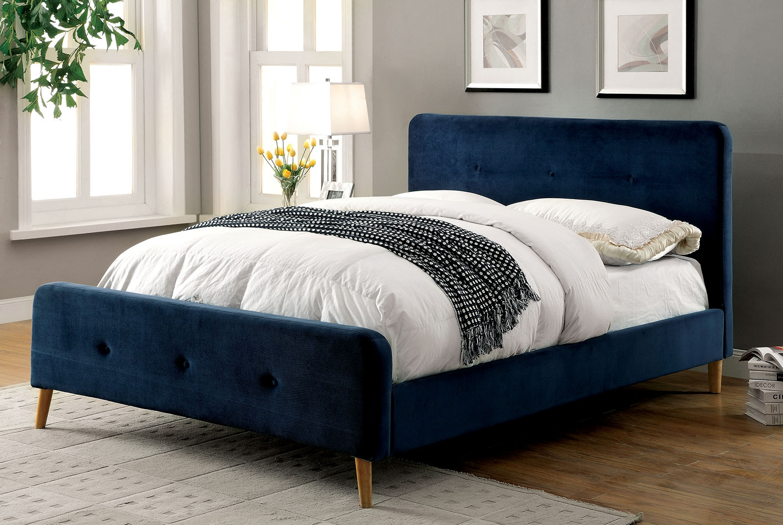 Navy Blue Queen Bed Frame