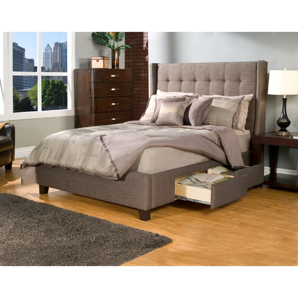 Storage Bed Frame With Upholstered Headboard