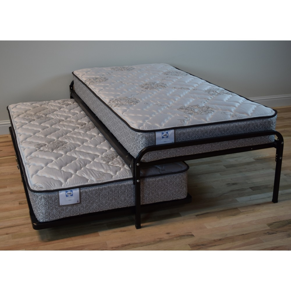 Twin Size Steel High Rise Bed Frame & Pop Up Trundle