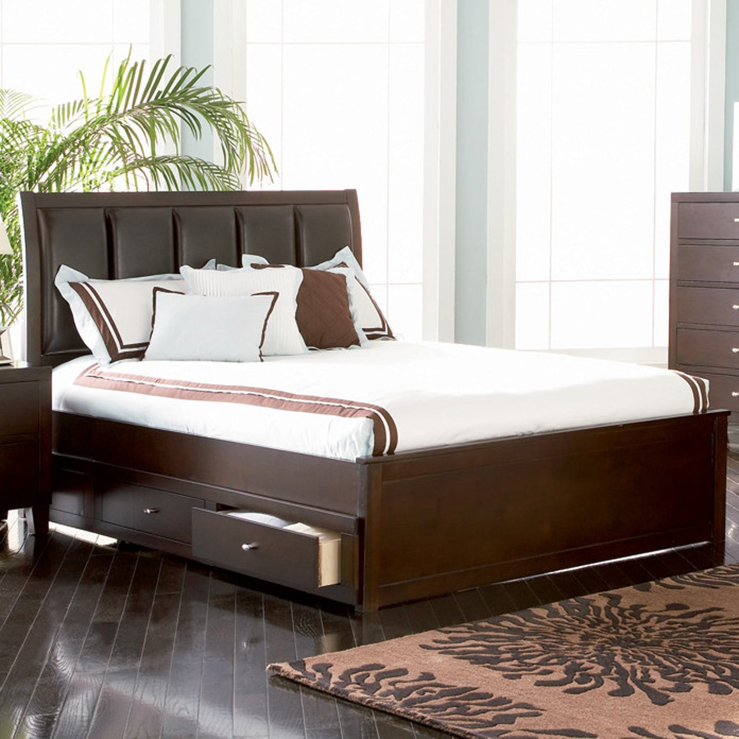 Upholstered Bed Frame With Storage Drawers