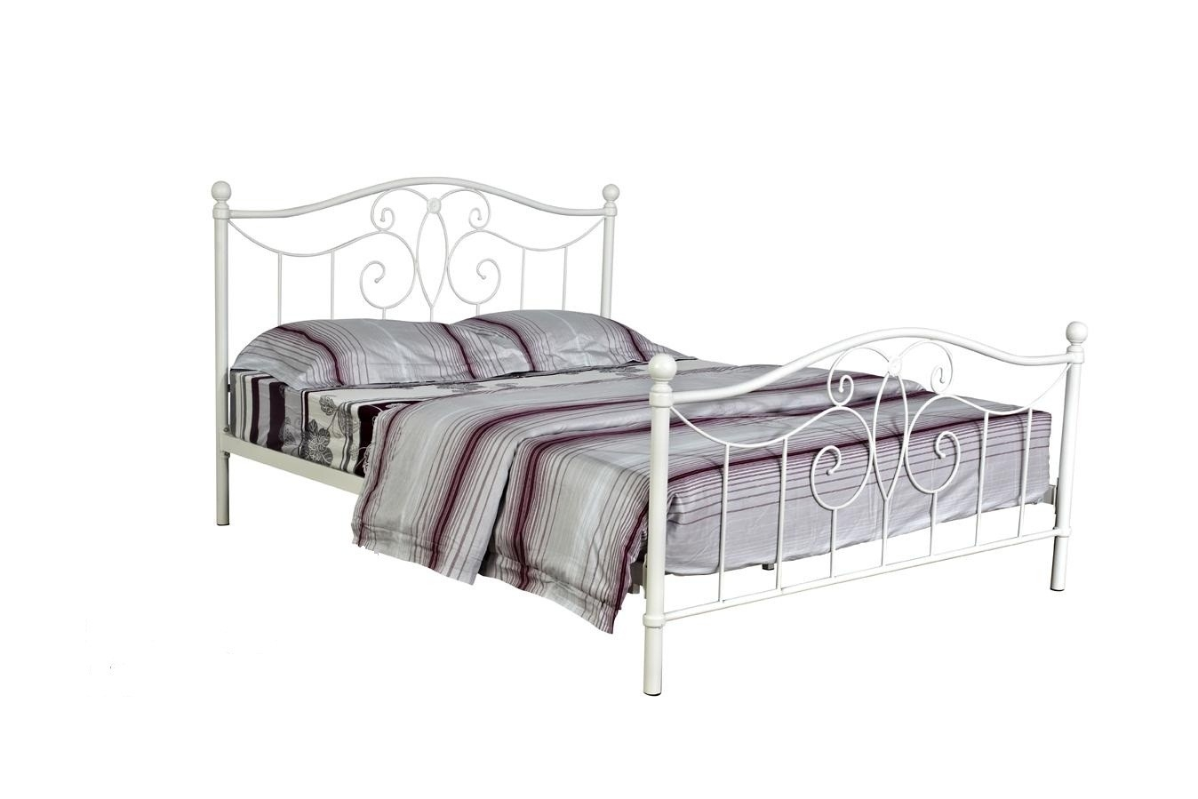 White Metal Frame Bed Double
