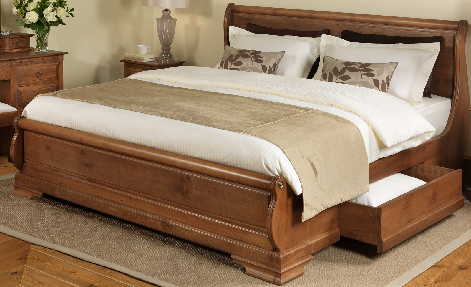 Wood Bed Frame With Storage Drawers