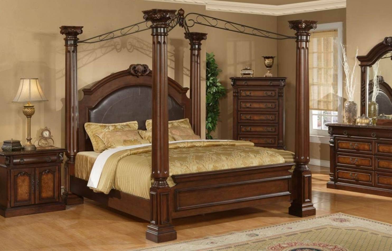 Wooden Canopy Bed Frame