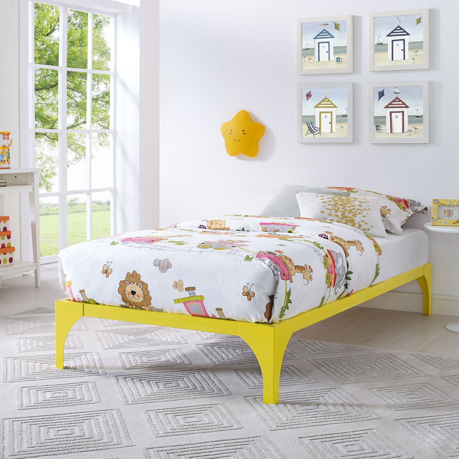 Yellow Wire Bed Framemodway mod 5747 ylw ollie twin bed frame in powder coated yellow steel