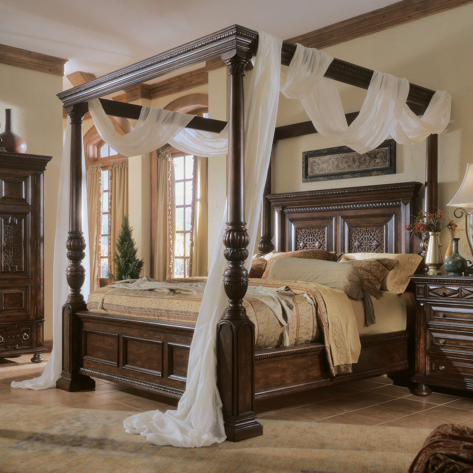 Four Poster Canopy Wood Bed Frame