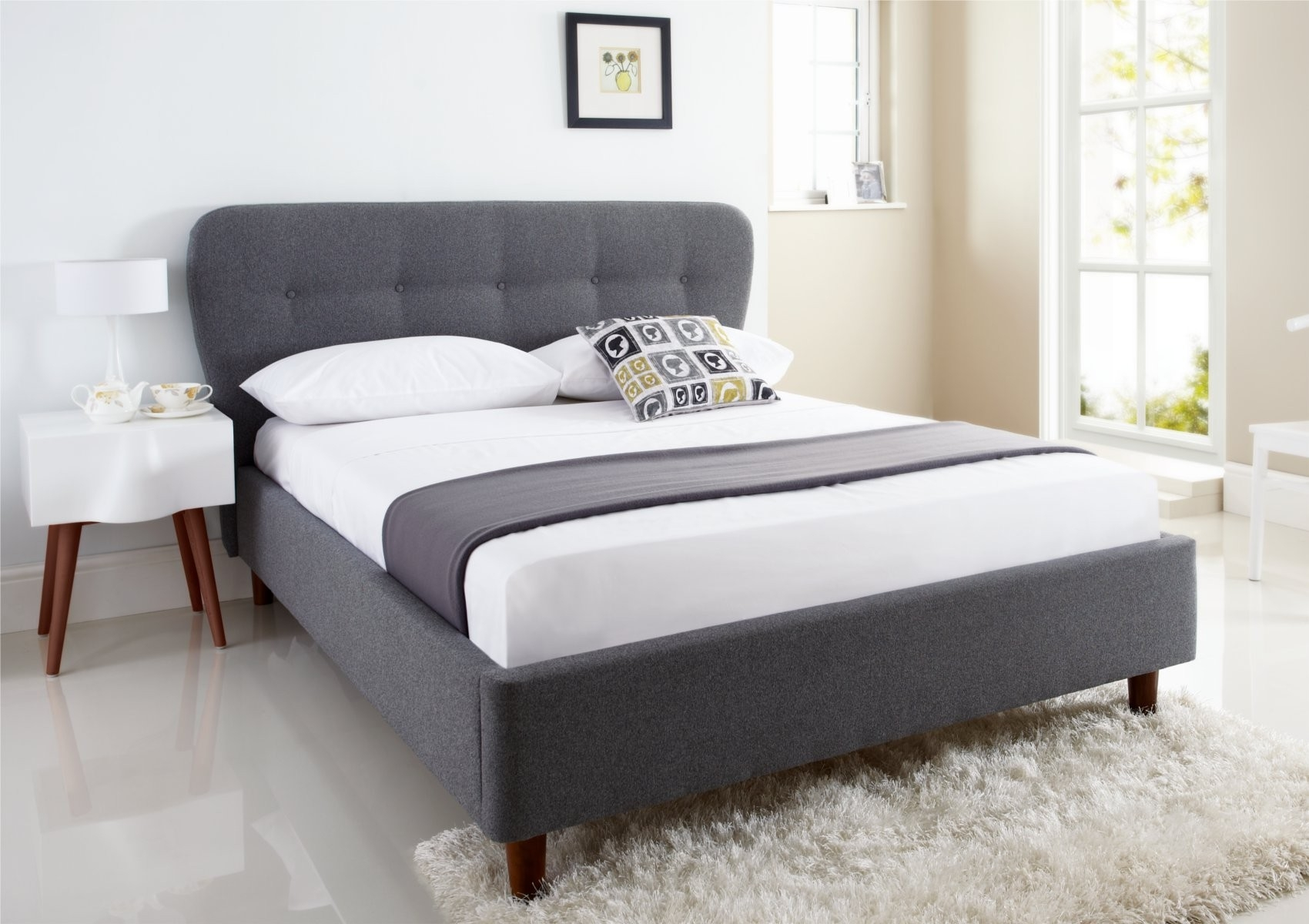 Grey Quilted Bed Frame
