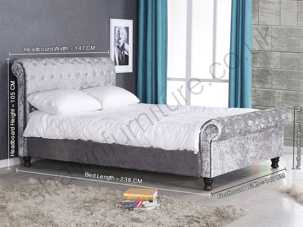 Grey Velvet Double Bed Frame
