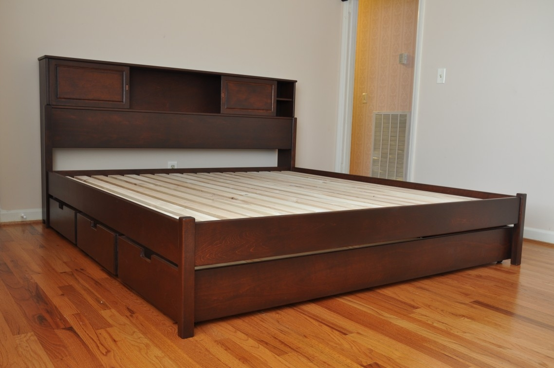 King Size Wooden Bed Frame With Drawers