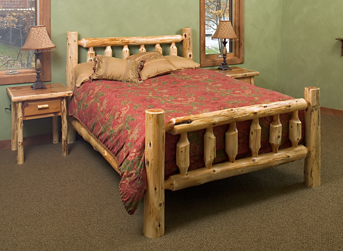 Log Queen Size Bed Frame
