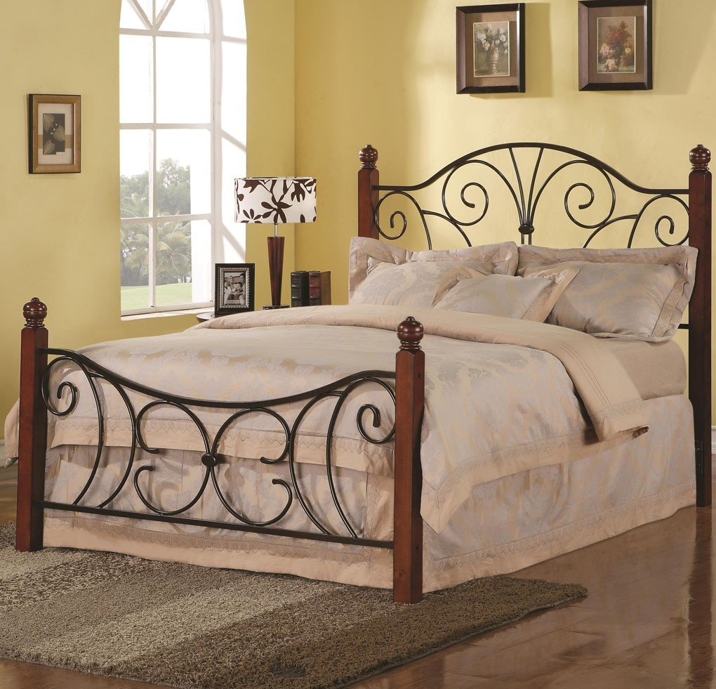 Metal Bed Frame With Hooks For Headboard And Footboard