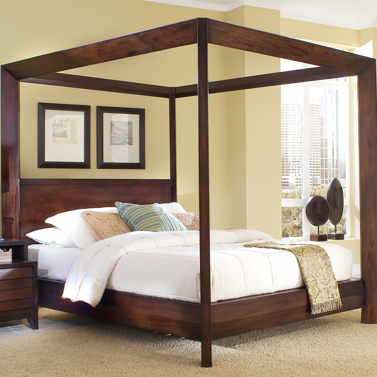 Queen Size Canopy Bed Frame Woodqueen size wood canopy bed frames amys office