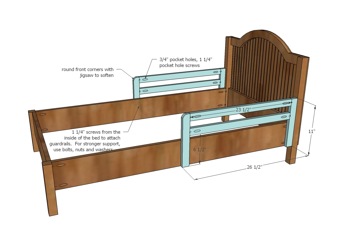 Twin Bed Frame With Toddler Rail