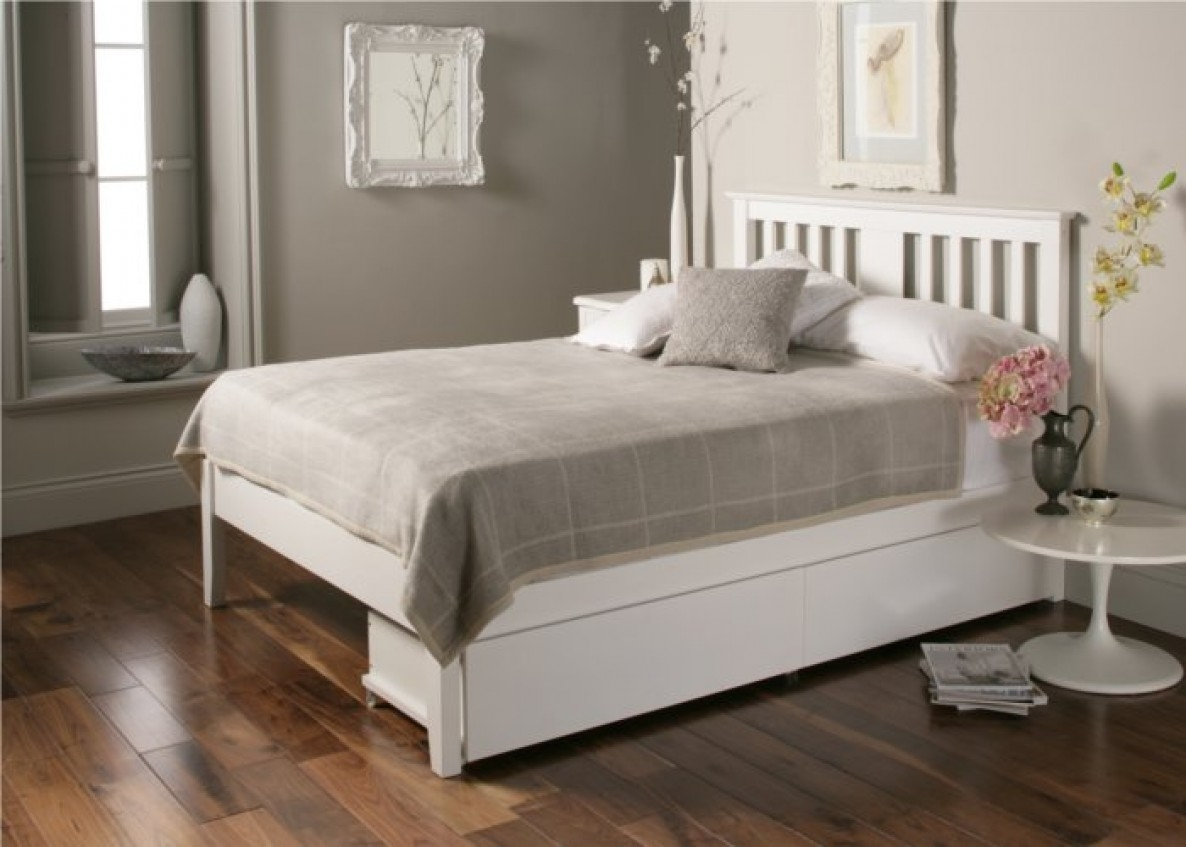 White Wood Bed Frame Double