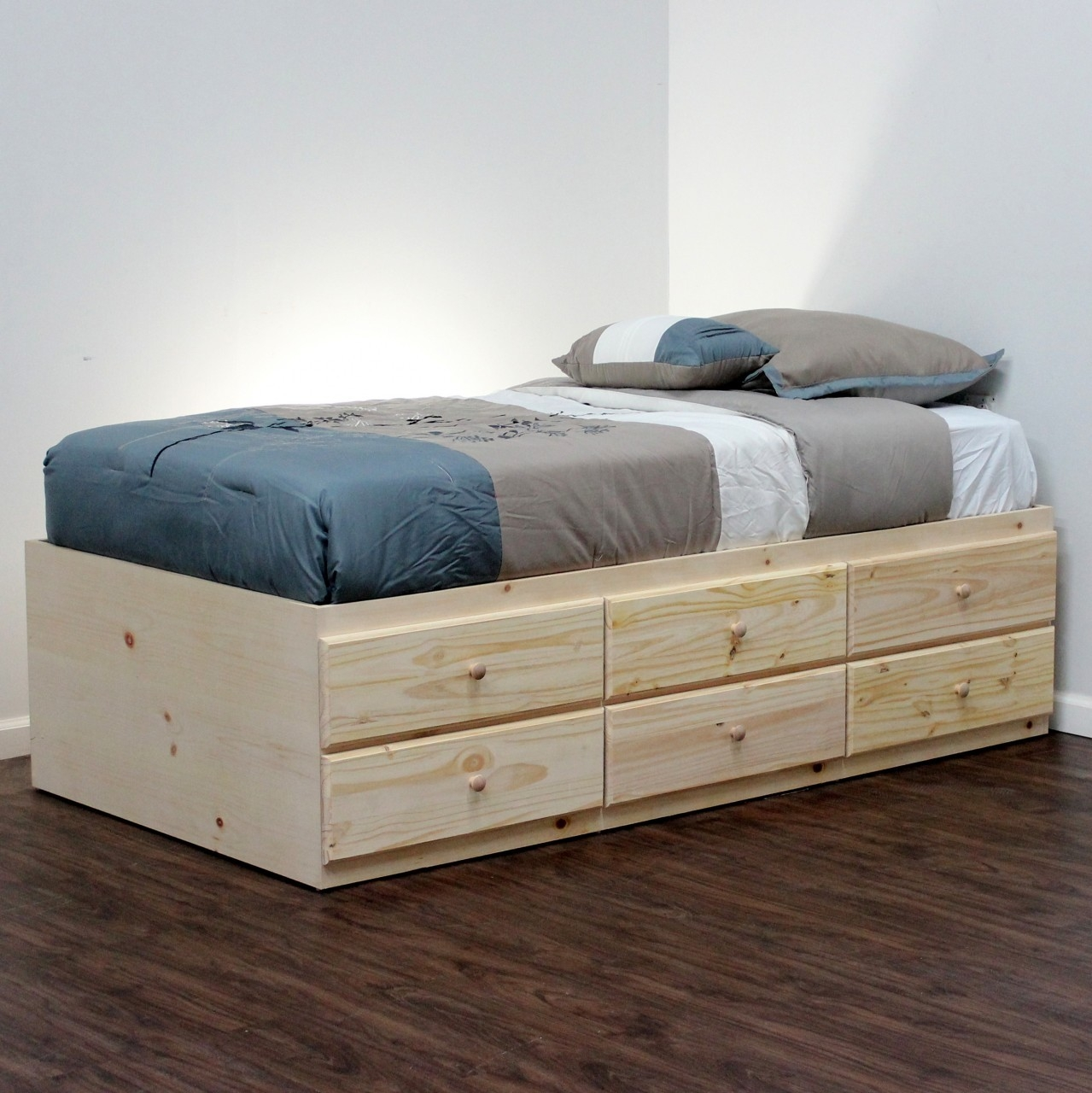 Wood Twin Bed Frame With Drawers