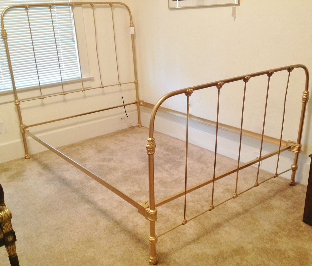 Wrought Iron Double Bed Frame Antique Brassfree ship vintage brass full double size wrought iron metal
