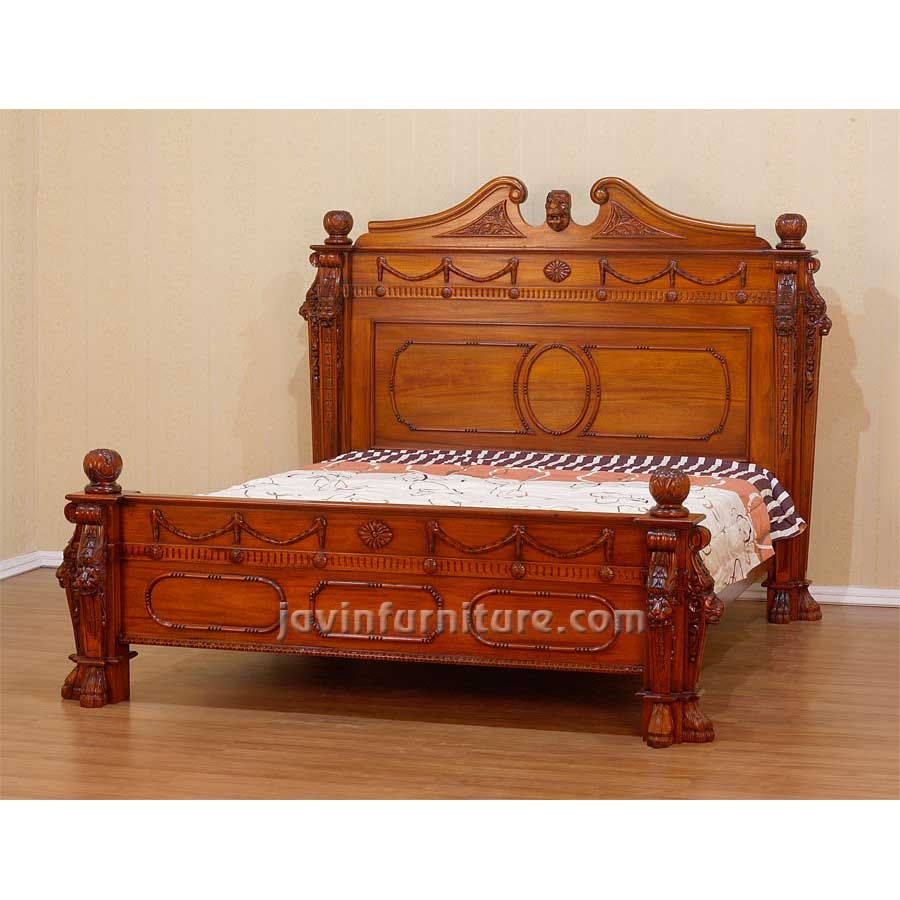 Antique Oak Double Bed Frame