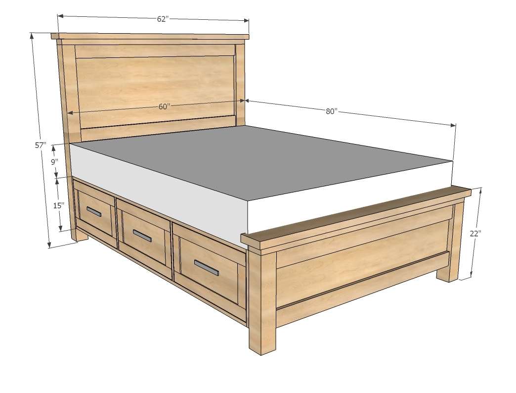 Bed Frame With Drawers Queen Plans1044 X 794