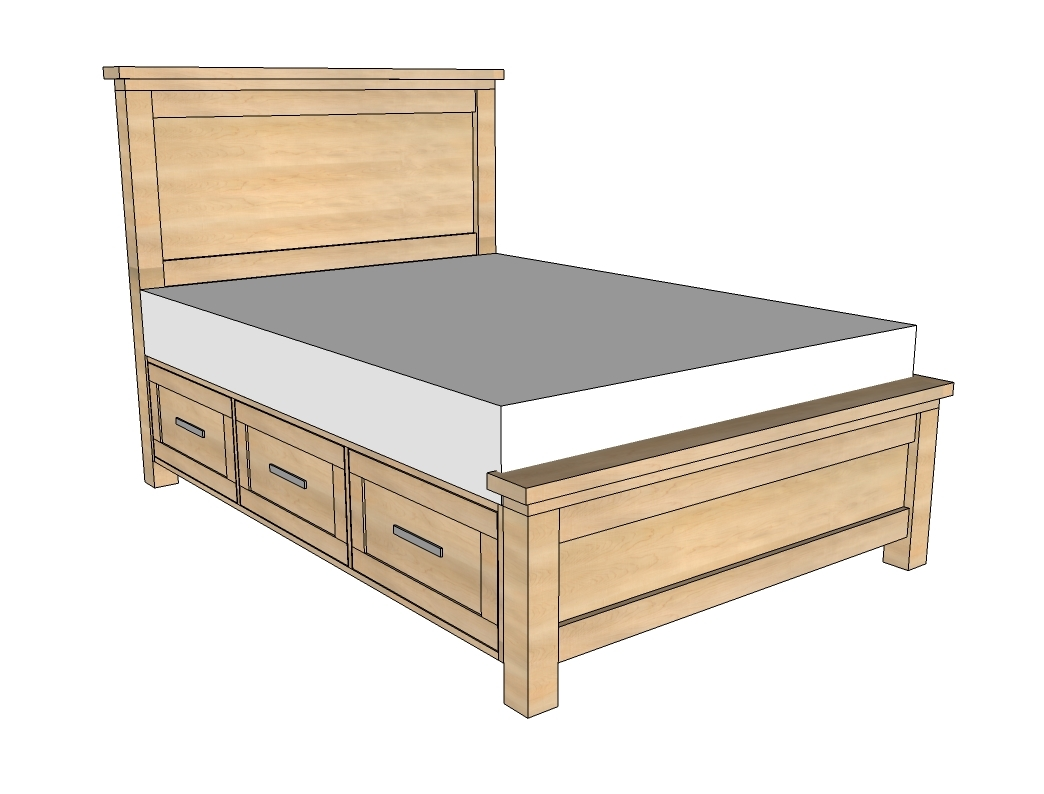 Bed Frame With Drawers Underneath Plans
