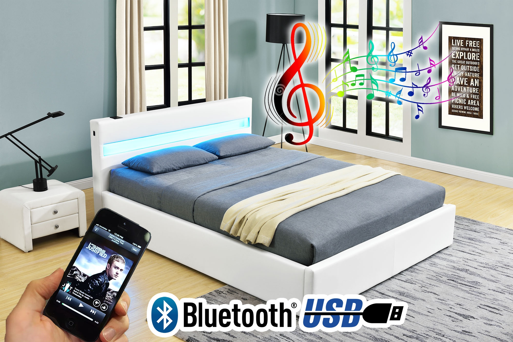Bed Frame With Lights And Usb