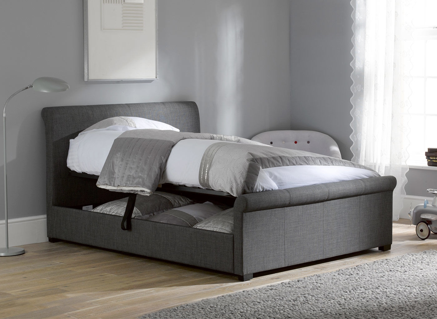 Black Double Bed Frame With Storage