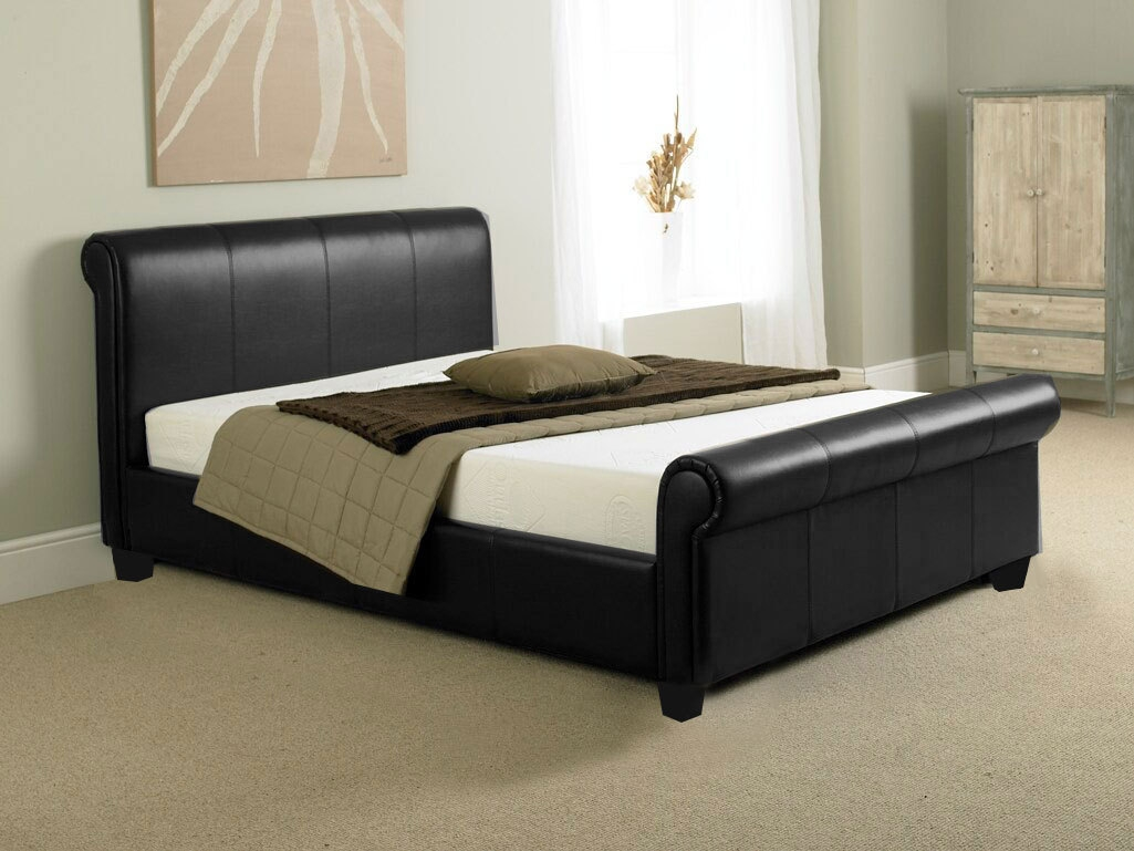 Permalink to Black Faux Leather Double Sleigh Bed Frame
