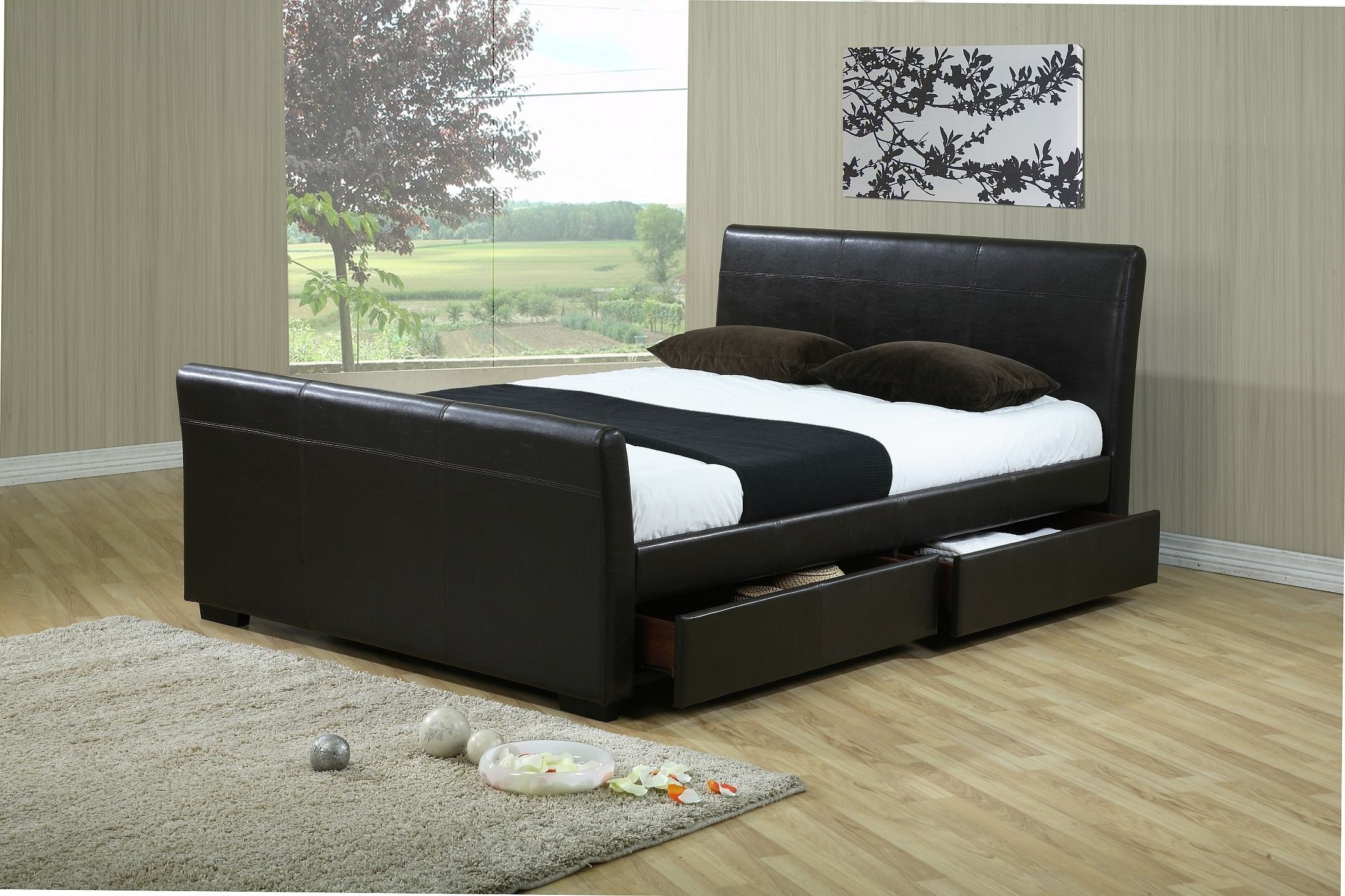 Black Leather Bed Frame With Storage